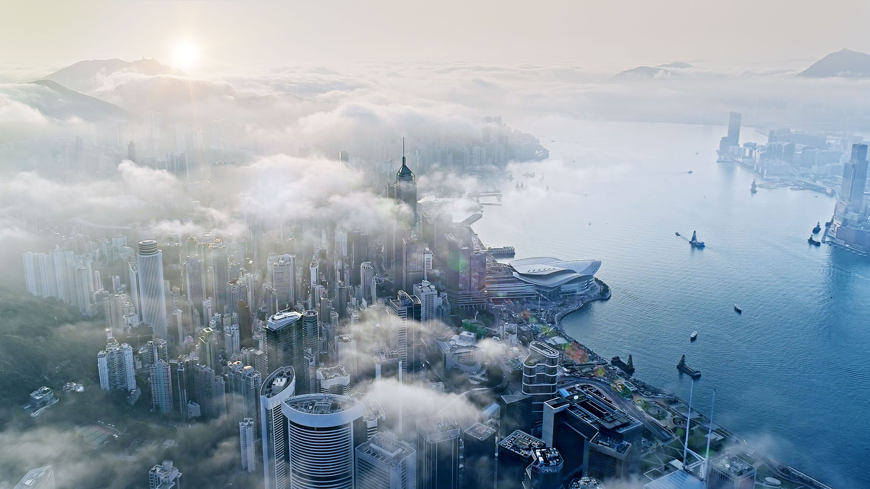Picture of aerial view of Shanghai smog